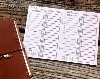 Traveler's Notebook A6 Size Day on One Page Planner Inserts {{30 DAYS}}