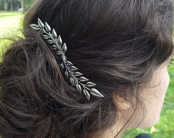 Silver Leaves Hair Comb Grecian Leaves Bridal Hair Woodland Wedding Boho Romantic