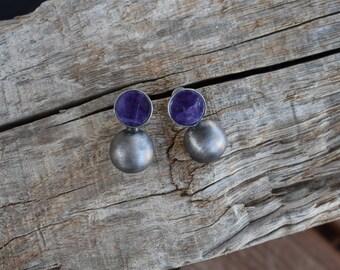 Sterling Silver Oxidized Amethyst Earrings Small Design Cute Deep Purple