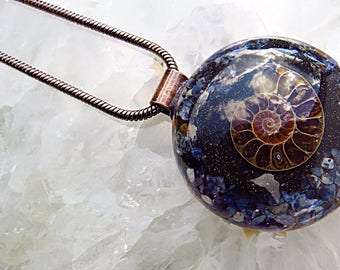 Powerful Orgone Pendant - Sodalite/Shungite/Ammonite - FREE WORLDWIDE SHIPPING!
