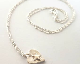 Silver heart pendant with tiny star // solid silver heart necklace // gift for girls // valentines gift