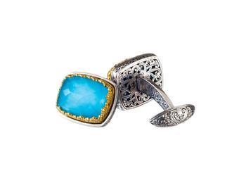 turquoise cufflinks in sterling silver with gold plated parts