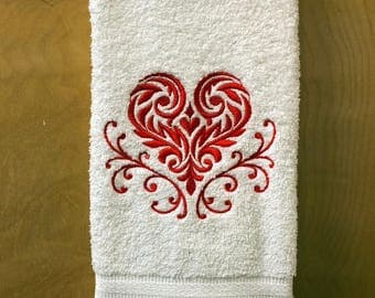 Valentine Damask Heart Embroidered Terry Cloth Guest Hand Towels, Made in USA
