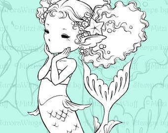 PNG Digital Stamp - Instant Download - Happy Little Mermaid - Fantasy Line Art for Cards & Crafts by Mitzi Sato-Wiuff