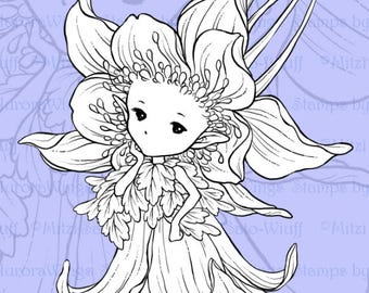 PNG Digital Stamp - Whimsical Columbine Sprite - Instant Download - digistamp - Fantasy Line Art for Cards & Crafts by Mitzi Sato-Wiuff