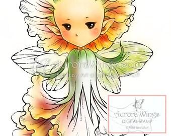 Digital Stamp - Marigold Sprite - Instant Download - digistamp - Fantasy Line Art for Cards & Crafts by Mitzi Sato-Wiuff