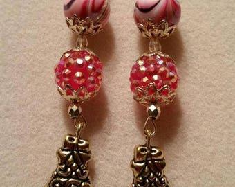 The Carol Of The Bells Earrings, Christmas Bell Earrings, Dangle Christmas Earrings, Christmas Earrings with a Bell, Gold Christmas Earrings