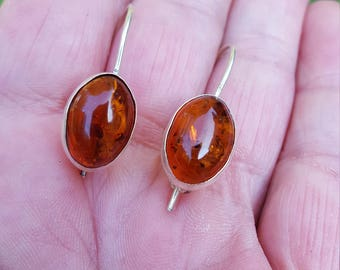 baltic orange amber dangle earrings 1970's POLAND genuine bezel set amber sterling estate earrings