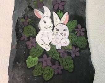 Bunnies Painted Slate