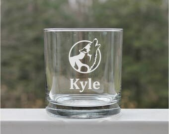wolf whiskey scothch glass, etched whiskey glass, whiskey glasses, scotch glasses, - 11oz, gift for dad, wolf glasses, scotch glass