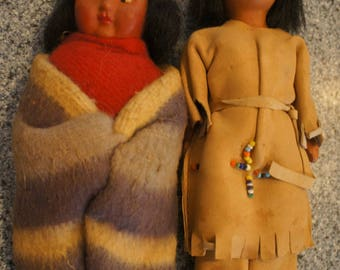 2 Vintage Native American Indian Dolls. 1 Skookum doll. Native dress-1950's
