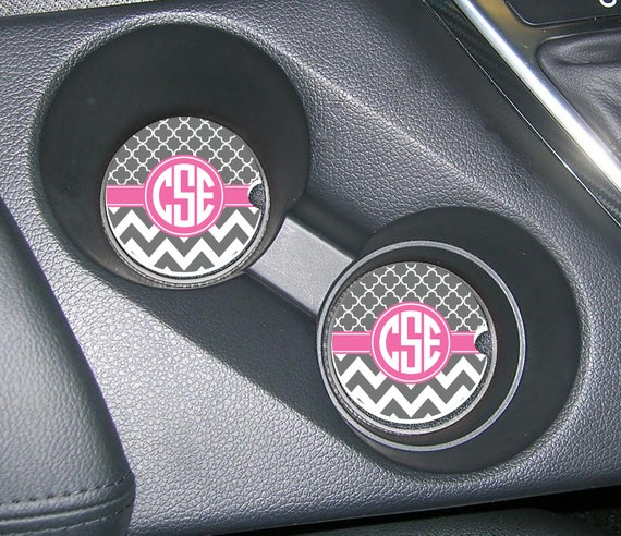 monogram cup holder coasters car coasters design your own. Black Bedroom Furniture Sets. Home Design Ideas