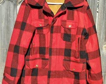 Men's Woolrich Buffalo Plaid Wool Coat Size 42 XL