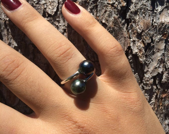 tahitian pearl blue shimmerings, leather, sterling silver, Women ring tahitian pearl