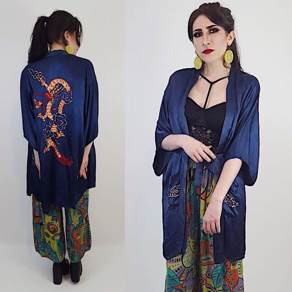 Dragon Embroidered Royal Navy Blue Satin Kimono - Traditional Long Medium Large Made in Hong Kong Dragons Embroidered Layer Jacket Robe