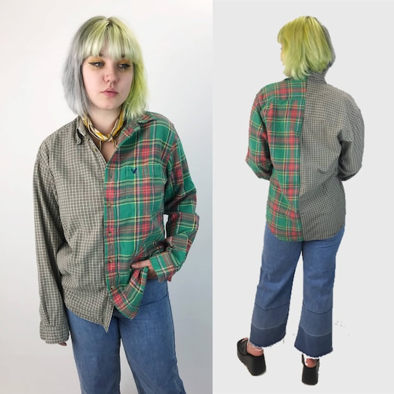 Remade Split Vintage 2 Tone Flannel Adult Medium - 1990's Mixed Prints Red Green One of A Kind Remade Hybrid Flannel Unique Upcycled Top