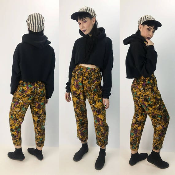 80's All Over Pattern Womens High Waist Pants Elastic Waist Small - DEAD STOCK Bright Fly Girl Trouser Vintage Yellow FUN Casual Pants