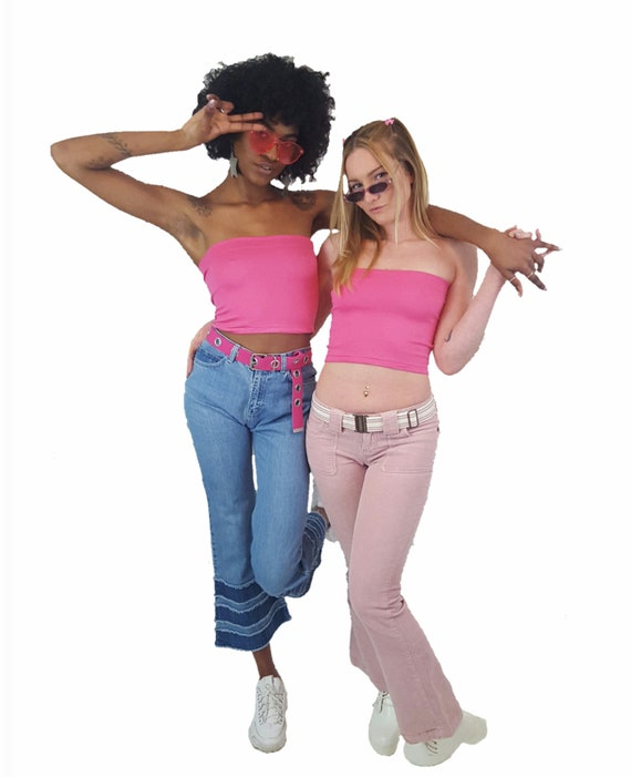 90's 2000s y2K  Tube Top - Pink Sleeveless Crop Top Party Club Top - XS Small Vtg Top Everyday Casual Chic Outfit Fashion
