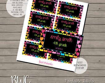 School Labels, Hearts Labels, Back To School Stickers, Printable Labes, Digital Files
