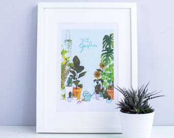 I'll be in the garden (blue) – A4 Illustrated art print