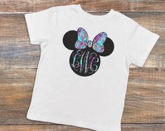 Toddler Lily Pulitzer Minnie Mouse Monogram Shirt - vacation shirt - Disney shirts