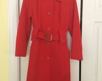 Forecaster of Boston Womens Trench Coat/1980's Trench Coat/Red Trench Coat