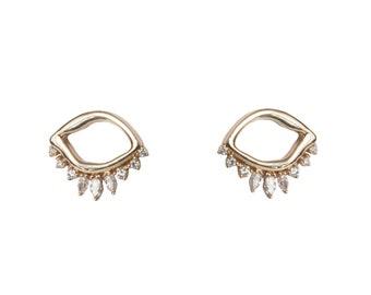 Dainty Diamond Earrings - Eye Earrings - Dainty Studs - Diamond Studs - Dainty Diamond Studs - Diamond Gold Earrings - Alternative Bridal