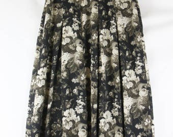 Vintage 1990's 90's Gray Black Grayscale Floral Print Maxi Long Skirt