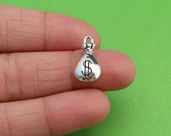 8 Money Bag Silver Charms