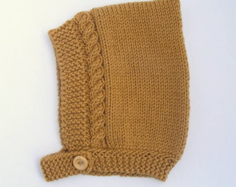 Cable Knit Baby Pixie Hat in Mustard