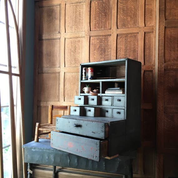 Primitive Parts Cabinet, Wood Countertop Display With Drawers, Hardware Store Organizer, Wooden Storage Unit, Industrial Cubby