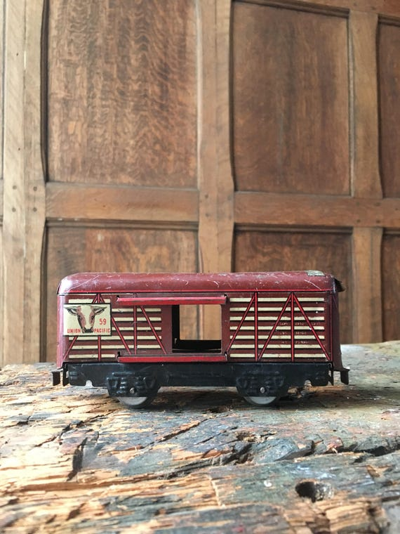 Vintage Cow Carrier Train Car Toy, Marx Toys, Vintage Union Pacific RxR, Red Train, Kids Room Decor, Train Lover Gift