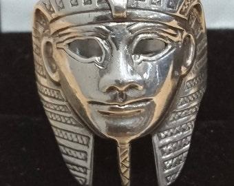 Vintage sterling silver Egyptian tutankaman head ring