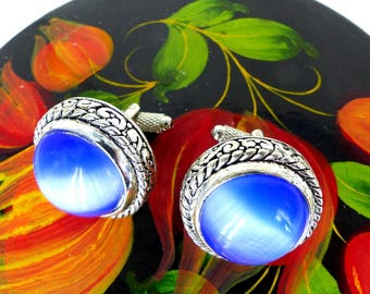 Antiqued silver leaf framed, blue glass dome silver set of cufflinks. Microphone hardware. Amazing glow - His or Hers