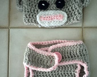 Pink and Gray Sock Monkey Crochet Hat with Flower And Diaper Cover