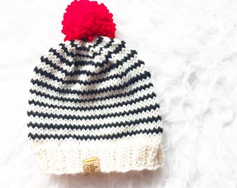 Zebra Striped Knit Baby Hat, Handknit Merino Wool Baby Hat, Baby Toque, Vibrant Knitted Black and White Beanie With Red PomPom, Kid's Hat