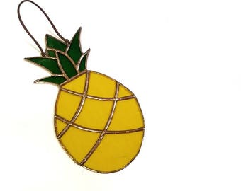Pineapple Suncatcher - stained glass home decor - gift for office
