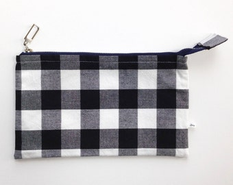 cute zipper pouch, small pencil case, black gingham checks, teen gift idea, under 15, wallet pouch, purse organizer, preppy friend birthday