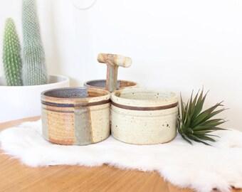 Vintage Stoneware Serving Set Tray Pottery Dish w/ Handle Boho Home Decor