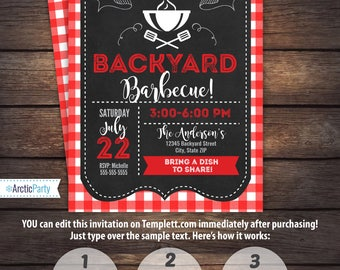 BBQ Invitations - BBQ Birthday - BBQ Party Invitations - Backyard bbq - Barbecue - Instant Access- Edit now with Templett.com - Arctic Party
