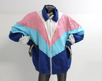 80s Blair Pastel Pink White and Blues Windbreaker Jacket