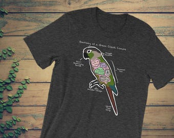 Anatomy of a Green Cheek Conure - Funny Green Cheek Conure Shirt - Dark Colors - Unisex short sleeve t-shirt