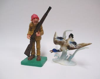 Vintage Wilton Duck Hunter & Mallard Cake Toppers, 1978 and 1972 Hard Plastic Cake Top Decorations