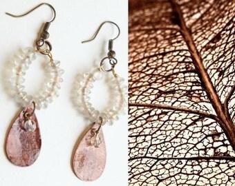 Beaded drop earrings with motherofpearl and rosequartz / Sundance / Boho / Bohemian