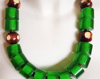 Necklace - Very chunky emerald green plastic beads and brown and cream carved beads statement necklace