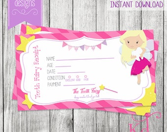 Tooth Fairy Receipt | Blonde - Printable | Instant Download