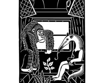 Gorilla and anteater traveling / framed digital print