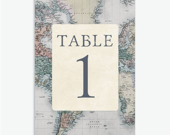 5x7 Rustic & Vintage Travel Theme Wedding Table Numbers 1-10 [Instant Download]