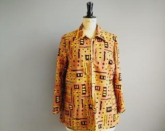 60s mini tunic / gold orange yellow patterned retro short dress / long sleeve tunic / 60s hippie mini / zip up the front tunic top / UK 16