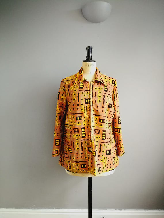 60s mini tunic / gold orange yellow patterned retro short dress / long sleeve tunic / 60s hippie mini / zip up the front tunic top / UK 16